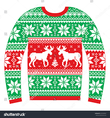ugly christmas jumper sweater reindeer snowflakes stock vector