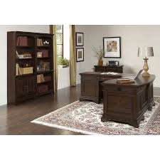 andover executive desk with return file cabinet and 2 piece bookcase