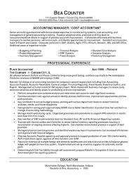Sample Resume For Bookkeeper Accountant by Accounting Resumes Examples Cost Accountant Resume Example