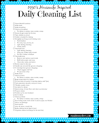Good Housewife Guide A U00271950 U0027s Housewife U0027 Daily Cleaning List Newbie Nesters This