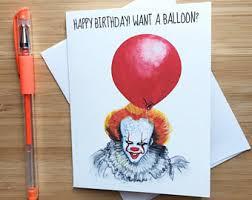 happy birthday creepy clown scary creepy birthday card etsy