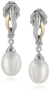 pearl and diamond drop earrings sterling silver and 14k yellow gold freshwater