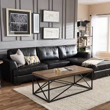 Contemporary Black Leather Sofa Bathroom Design Modern Sectional Sofas Leather Living Room Decor