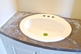 Countertop Bathroom Sinks Refinished Concrete Vanity Top