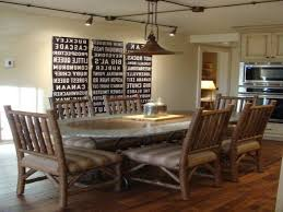 farmhouse dining room pendant lights exposed wood beam ceiling
