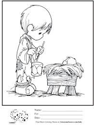 kids coloring page precious moments little drummer boy baby jesus