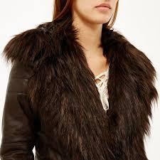 river island dark brown leather look biker jacket in brown lyst