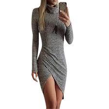grey women knitted dresses ladies full sleeve wrap beach