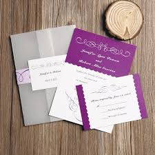 wedding invitation set radiant orchid purple pocket wedding invitations with rsvp cards