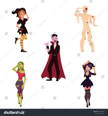halloween dance party background people halloween party costumes witch zombie stock vector