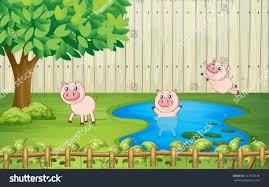 illustration pigs backyard stock vector 127676138 shutterstock