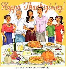 happy family celebrating thanksgiving day card design clip