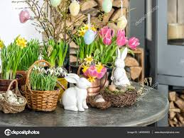 home decoration with flowers easter decoration flowers eggs festive home interior u2014 stock photo