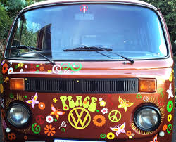 van volkswagen hippie peace bus vw camper van vinyl decor flower car stickers by hippy