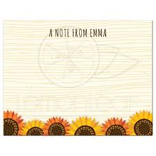 thanksgiving note whimsical sunflowers on abstract wood personalized name text flat