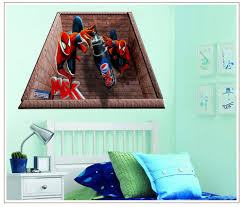 spider man 3d wall stickers for kids rooms decoration boys wall