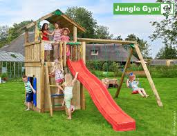 jungle gym chalet climbing frame with swing arm slide swing