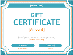 personalized gift certificate template free printable gift