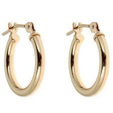 real gold earrings 14k real gold hoop earrings shiny hoops tubular 14mm new