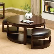 10 ideas of leather round coffee table with storage ottomans