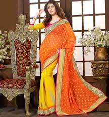 Yellow Colour Combination Lovely Party Wear Saree Blouse Design With Smart Color Combination
