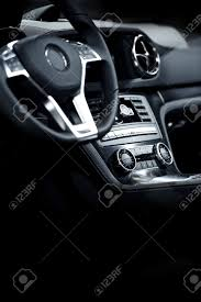 elegant modern car interior dark leather interior of luxury