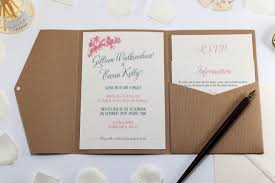 vintage birds wedding invitation in kraft pocketfold bossa