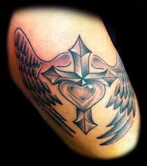 heart tattoo u2013 cross with wings design tattooshunter com