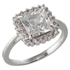 square cut halo engagement rings silver plated square cut halo cubic zirconia engagement ring