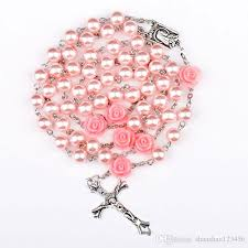 bead necklace pink images Wholesale pink rosary beads catholic rosary necklace for girls jpg