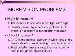 Night Blindness Caused By Vitamin A Deficiency Taste Smell Touch Sight Hearing U0026 Balance Ppt Online