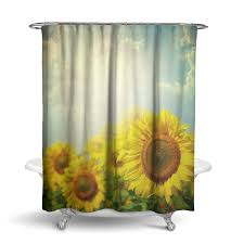 Sunflower Yellow Curtains by Fabric Shower Curtains Ziya Blue