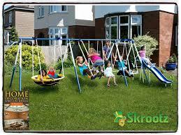 amazon com metal swing set outdoor patio swings kids slide