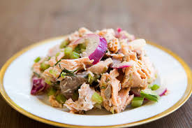 poached tuna salmon salad recipe simplyrecipes com