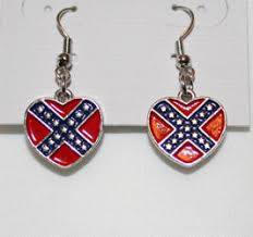 rebel earrings rebel yell confederate flag jewelry heart necklace confederate