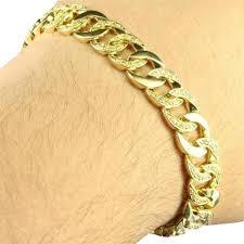 mens gold bracelet links images Gold mens miami cuban link design simulated diamond in 14k finish jpg
