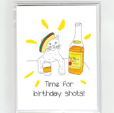 cartoon tequila tequila cat happy birthday greeting card