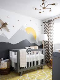 Nursery Curtain Ideas by Baby Boy Nursery With Wall Murals And Chevron Curtain Cool Baby
