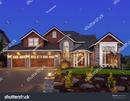 three car garage home exterior night new luxury house stock photo 266465897