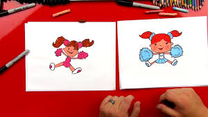 how to draw a cartoon cheerleader art for kids hub
