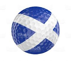 golf ball render with scotland flag isolated on white stock photo