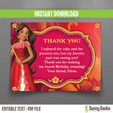 disney elena of avalor thank you cards instant download edit