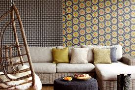 Wallpaper Ideas For Sitting Room - black ethnic suzani living room wallpaper design hupehome