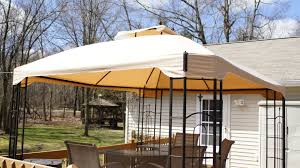 big lots 10 x 12 bay window gazebo replacement canopy garden winds fast shipping different color and style then original not the canopy in the picture with the grommet kit managed to get it stretched out and in place