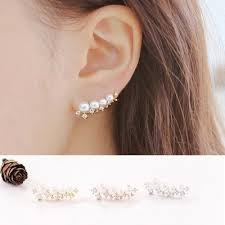 climber earrings cz pearl ear vine wrap pin silver clip ear cuffs climber