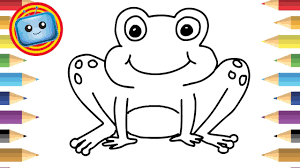 how to draw a frog colouring book simple drawing game
