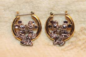 gold plated earrings vintage walt disney mickey minnie mouse silver gold plated