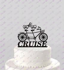 bicycle for two wedding cake topper mr u0026 mrs personalized with