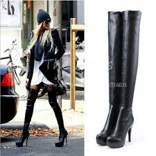 womens thigh high boots size 11 big plus size black brown silver platform ultra high