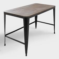 espresso wood and black metal arwen desk world market